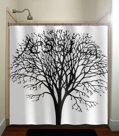 black & white shower curtains  | Name tree shower curtain bathroom decor fabric kids bath white black ...