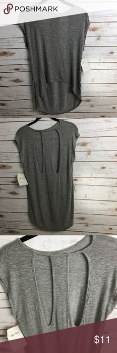 NWT LILY WHITE TOP WITH BACK DETAIL! Lily White grey top with back detail. Tags still on - very soft! Size S.  Smoke free, clean home. Feel free to reach out with any questions! Lily White Tops