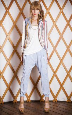#TheODells #spring14 #chambray Slouch Pant + Shrunken Blazer #prints #stripes #fashion #style