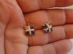 Ladies 925 Sterling Silver Multi-Color Stud Earrings/W 12 Ct Amethyst/Diamond