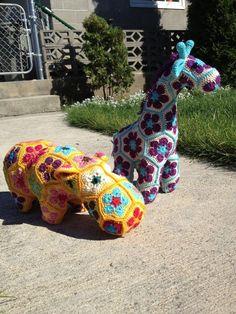 Handmade Crochet African Flower Pattern Hippo and Giraffe - Crochet Craft, Crochet Animals