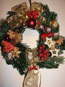 Dekorácie - Vianočný veniec na dvere(živá čečina) - 5652318_