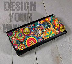Womens Wallet Leather bifold hipster mandala floral design. #floraldesign #floral #Mandala #wallet