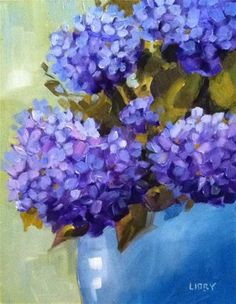 """Daily Paintworks - """"Happy Hydrangeas"""" - Original Fine Art for Sale - © Libby Anderson Abstract Flowers, Watercolor Flowers, Hydrangea Painting, Oil Painting For Beginners, Sky Art, Pictures To Paint, Fine Art Gallery, Botanical Art, Art For Sale"""