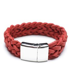 red braided leather bracelet, 00480