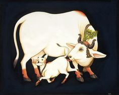 Kamadhenu, Our Mother the Cow Pichwai Paintings, Indian Art Paintings, Animal Paintings, Cow Painting, Sketch Painting, Indian Traditional Paintings, Baby Animal Drawings, Krishna Art, Krishna Painting