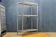 USA, c.1920s. Vintage Industrial Brewers Cellar Racks, Cold Forged and Galvanized Steel Construction, Heavy Duty, Heavy Weight. All Shelf Heights Adjustable. May have Two more Available. 70 lbs.    Width/Length: 45 x Depth: 20 x Height: 72 in. *(Shelf Heights as Photo'd: 10, 43¼, 69½ in.)