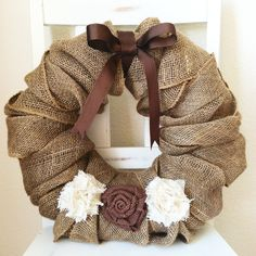 16 inch Custom Burlap Wreath with Shabby Chic Flowers and Bow from MaesieGraceCreations on Etsy.