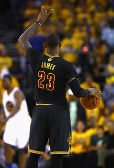 LeBron James of the Cleveland Cavaliers gestures during the second half against the Golden State Warriors in Game 7 of the 2016 NBA Finals at ORACLE...