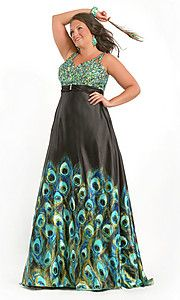 Sparkly green bodice and full black skirt with peacock print. Evening gown, bridesmaid dress, prom dress.