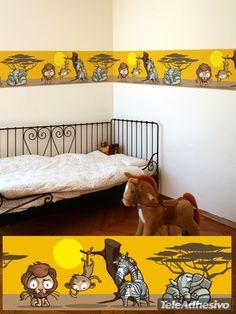 Vinilo infantil cenefa decorativa animales de África #decoracion #teleadhesivo