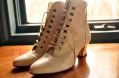 Cream, leather granny boots