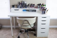 Makeup desk is made up using the Alex drawer unit, Alex add on unit and the Linnmon table top