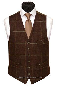 MOORHEN BROWN TWEED Waistcoat - Traditional Waistcoats Wedding Outfits Informal Waistcoats & Gentlemans Waistcoats Buy UK