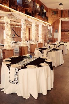 Black And White Wedding Reception At Banff Springs Blackandwhite Weddingpalette Fab Everything Pinterest
