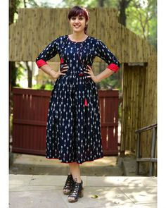 Buy Black Printed Cotton Ikat Tasseled Kurti online in India at best price.Shop online Black ikat tasseled dress by Desi Doree Black and white Ikat combination, angrakha pattern Kurta Designs Women, Salwar Designs, Blouse Designs, Printed Kurti Designs, Casual Dresses, Fashion Dresses, Casual Frocks, Stylish Dresses, Nice Dresses