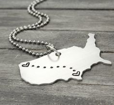 State to State Necklace, Long Distance Love Necklace, Handstamped Necklace, Personalised Jewelry,  Handstamped Jewelry, Personalized Jewelry by PureImpressions on Etsy