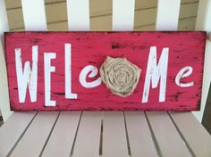 Welcome Sign. Always a nice way to greet guest Vinyl Crafts, Home Crafts, Fun Crafts, Diy And Crafts, Arts And Crafts, Scrap Wood Projects, Diy Craft Projects, Wooden Wall Art, Wooden Signs
