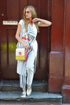 London Fashion Week 2016 street style, stripes outfit, Brewer street