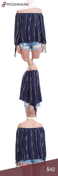 """Embroidered Off the Shoulder Blouse Embroidered stripes and bow-tied cuffs add to the bohemian charm of this evening blue off-the-shoulder top.   17"""" center front length (size Medium) Off-the-shoulder neckline Long sleeves with tie cuffs 100% rayon Dry clean Imported Lush Tops Blouses"""