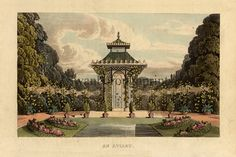 This print shows An AVIARY with a Fashionable Chinoisery Roof, very popular in the Georgian and Regency period, with ornate ironwork, in front of a pool surrounded by formal planting, leading the eye to the focal point of the Aviary.