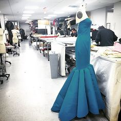 Back at #ZacPosen in the #atelier a #blue #Gown being produced. #madeinnyc #craft #process #nyc