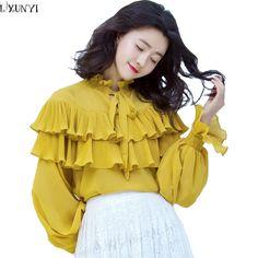 Korean Chiffon Blouse Long Sleeve Plus Size Tops Pleated Double-Deck Women's Ruffles Blouses Tops Elegant Shirts For Women