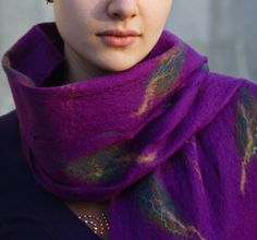 Felted scarf autumn mood   made to order  amethyst autumn by jezek, $56.00