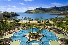 Kauai Marriott Resort's signature swimming pool is the largest single-level pool in Hawaii. It features four waterfalls and five whirlpools.