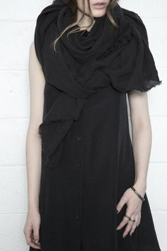 Washed Linen Raw Edge Scarf - Black