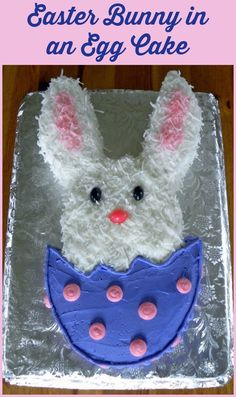 Easter Bunny in an egg cake with step by step instructions
