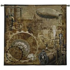 Fine Art Tapestries Steampunk BW Tapestry
