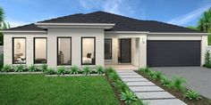 Hume 263 Home Design - House Design Hume 263 House Paint Exterior, Exterior House Colors, House Front Design, Modern House Design, Facade Design, Exterior Design, Rendered Houses, Front House Landscaping, Facade House