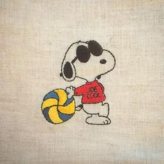 JOECOOLとバレーボール * * #snoopy #peanuts #Schulz #JOECOOL #volleyball #handembroidery #embroidery #スヌーピー #ピーナッツ #ジョークール #バレーボール #刺繍