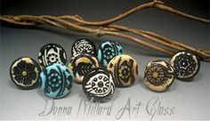 HANDMADE GLASS BUTTONS by Donna Millard great for charms!!!