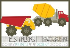 Cement Mixer and Dumptruck SVG Files, Cuttable - svg, mtc, jpg, studio and dxf files Dump Trucks, Big Trucks, Simple Collage, Construction For Kids, Classroom Bulletin Boards, Doodle Designs, Cutting Tables, Cute Images, Boy Birthday