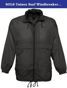 SOLS Unisex Surf Windbreaker Lightweight Jacket Nylon Wind Waterproof Rain Coat