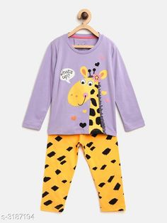 Nightsuits  Fancy Cotton Blend Printed Night Suit Fabric: Top - Cotton Blend  Pant - Cotton Blend Sleeves: Sleeves Are Included Neck: Round Neck Size: Age Group (1 - 2 Years) - 18 in Age Group (2 - 3 Years) - 20 in Age Group (3 - 4 Years) - 22 in Age Group (4 - 5 Years) - 24 in Age Group (5 - 6 Years) - 26 in Age Group (6 - 7 Years) - 28 in Age Group (7 - 8 Years) - 30 in Type: Stitched Description: It Has 1 Piece Of Girl's Top & 1 Piece Of Pant Work: Top - Printed  Pant - Printed Country of Origin: India Sizes Available: 2-3 Years, 3-4 Years, 4-5 Years, 5-6 Years, 6-7 Years, 7-8 Years, 1-2 Years   Catalog Rating: ★4.3 (916)  Catalog Name: Girl's Fancy Cotton Blend Printed Night Suits Vol 1 CatalogID_438294 C62-SC1158 Code: 592-3187194-