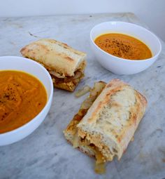 A Soup And Sandwich Combo To Make Between Classes - caramelized inion & hummus sandwich with roasted carrot soup