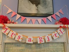 IT'S A GIRL Polka dots Baby Shower Decorations-New Baby Garland -Birth Announcement Banner Photo Prop Nursery Decorations. $17.00, via Etsy.