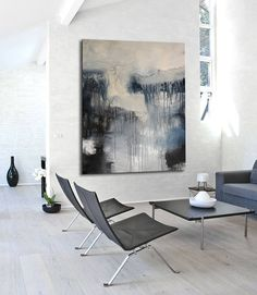 Grey abstract giclée Print of painting blue and gray