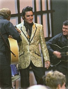 1968 ELVIS NBC TV Special - A scene with Charlie Hodge and holding the  guitar with