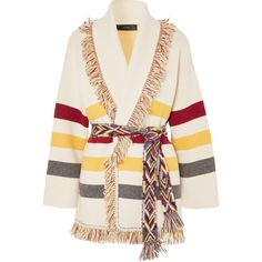 Alanui Fringed jacquard-knit cashmere cardigan ($3,140) ❤ liked on Polyvore featuring tops, cardigans, outerwear, sweaters, multicolor cardigan, multi colored cardigan, colorful cardigan, rainbow striped top and rainbow cardigan