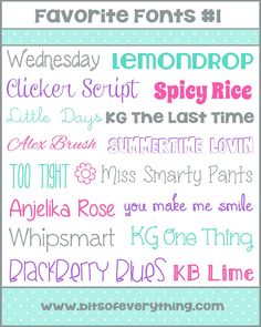 Fun Fonts lists - http://blog.bitsofeverything.com/category/freebies/page/3