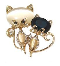 Gold Tone Crystal Twin Cat Fancy Dress Party Retro Fashion Animal Brooch Pin UK