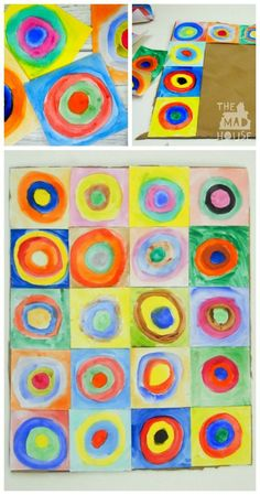 This beautiful piece of collaborative art is inspired by the works of Vasily Kandinsky. It is a fantastic way to introduce children to the work of an artist and a fun craft DIY for all the family. Kandinsky for kids - concentric circles in squares Kadinsky Art, Collaborative Art Projects For Kids, Kandinsky For Kids, Famous Artists For Kids, Circle Art, Preschool Art, Preschool Kindergarten, Art Plastique, Art Activities