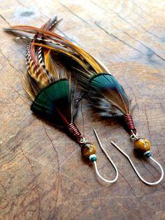 Boucles d'oreilles plume par LagoExoticJewelry sur Etsy