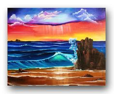 Seascape Painting Original Painting Crashing Waves on Beach Ocean Painting Vibrant Realism Painting on Canvas Modern Art 30x24 Heather DAY