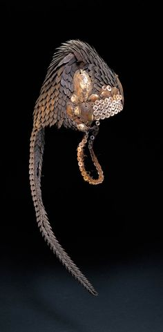 Africa | Hat / headdress from the Lega people of DR Congo | Pangolin scale, plant fiber, buttons, shells.