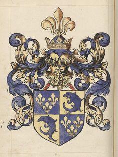 Arms of the Dauphin of France — from the 16th c. French manuscript, Grand armorial colorié, dont les blasons sont rangés sous les rubriques suivantes.  Arms by Alexandre Leblancq.